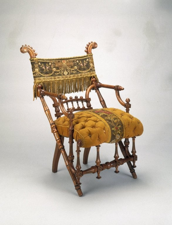 George Jacob Hunzinger (American, born Germany, 1835-1898). Armchair, designed: 1869; patented: March 30, 1869. Wood, original upholstery,  Brooklyn Museum, H. Randolph Lever Fund, 1992.208. Creative Commons-BY (Photo: Brooklyn Museum, 1992.208_IMLS_SL2.jpg)