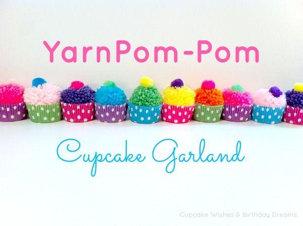 Yarn Pom Pom Cupcake Garland Main Photo with Text
