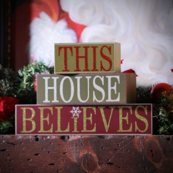 #KirklandsHoliday! Keep the magic alive in your home with our new This House Believes, set of 3! This featured phrase comes in 3 blocks with shimmering, frosted lettering! #KirklandsHoliday!