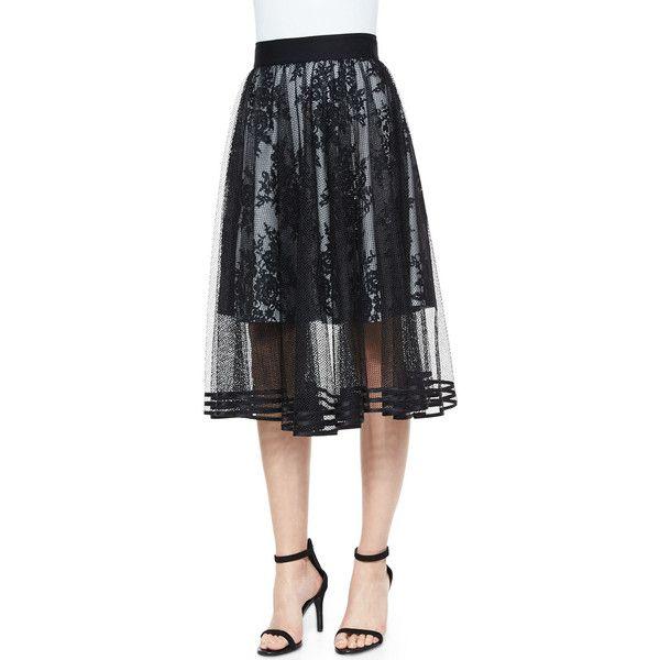 Sachin & Babi Noir Mesh Overlay Tea-Length Ball Skirt (€280) ❤ liked on Polyvore featuring skirts, jet, stripe long skirt, flounce skirt, striped maxi skirt, ball skirt and stripe maxi skirt