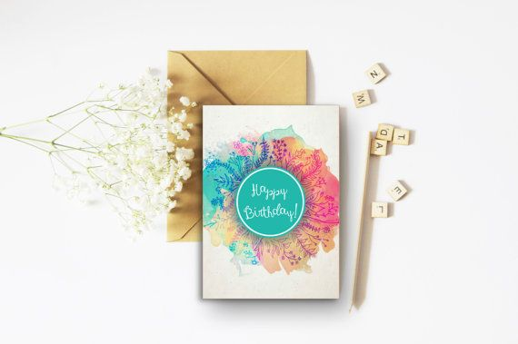 Happy Birthday Bright Card - A6 Card - Colourful Cards - Floral Cards - Teal Print