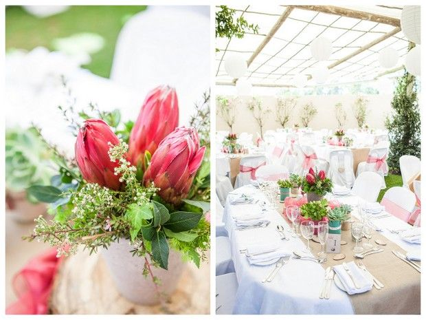 Rustic table setting with proteas