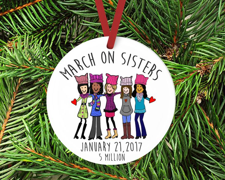 Excited to share the latest addition to my #etsy shop: March on Washington Gift Ornament, Womens March, Sisterhood Ornament, DC March, Womens rights, January 21, gift for her, Pink hat, Pussy hat http://etsy.me/2FryOrn #housewares #homedecor #white #birthday #christmas