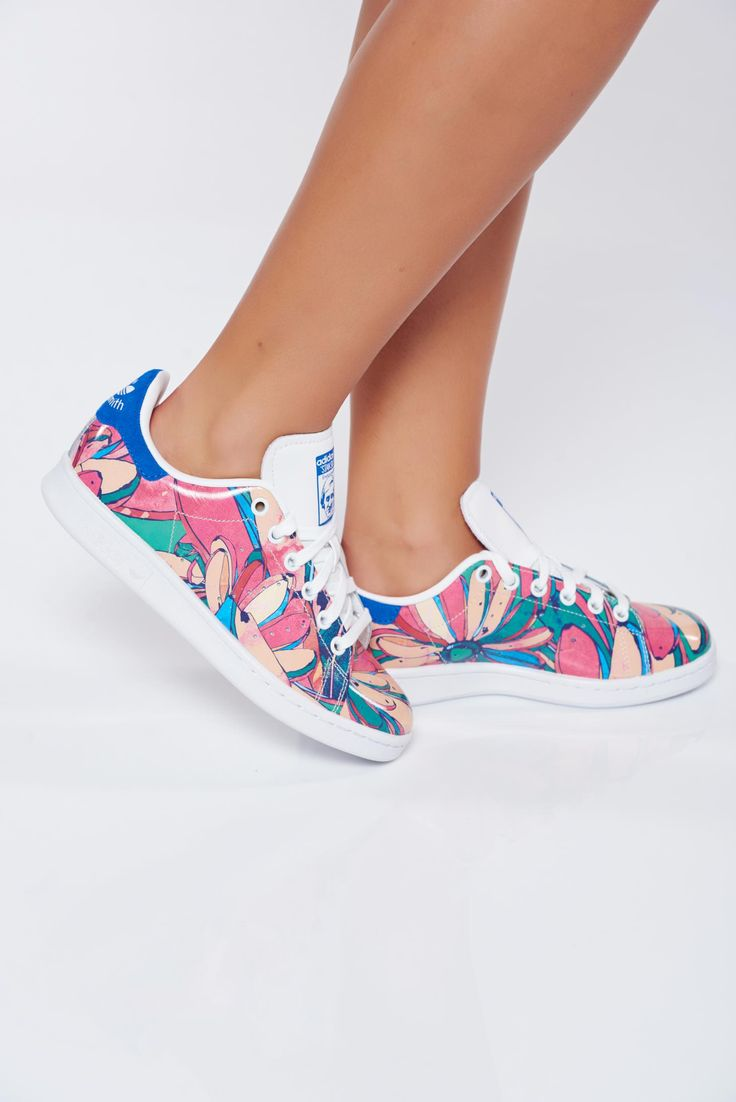 Rosa casual natural leather sneakers Adidas by Stan Smith with floral print, floral prints, upper material: leather, insole material: ecological leather, Originals, with lace