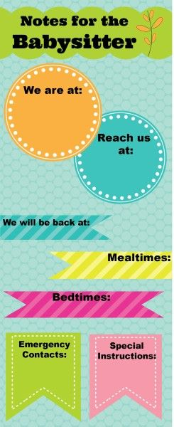 LOVE, love, love these free printable notes for the babysitter - so practical + cute!