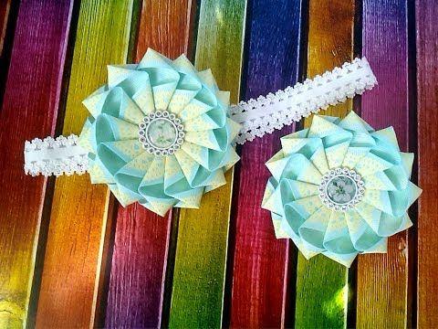 Цветок канзаши с двойными лепестками из лент 2,5 см и 1 см мастер класс - YouTube