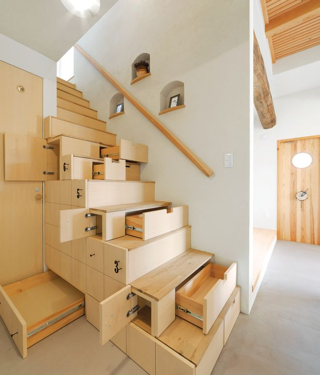 Residents of this contemporary home in Koriyama, Japan, squeeze out every cubic inch of storage, courtesy of a centuries-old design concept that combines storage with stairs.