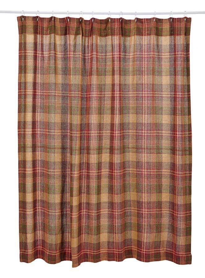 Everything Primitives - Kendrick Burlap Plaid Shower Curtain, $39.95 (http://www.everythingprimitives.com/kendrick-burlap-plaid-shower-curtain/)