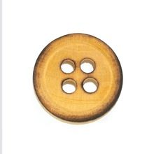 Burnt Wooden Button Distressed Effect High Quality
