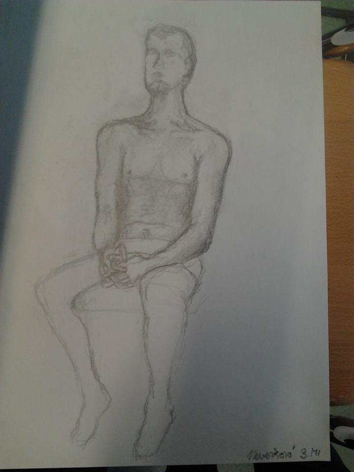 Skicovitá studie figury (kresba tužkou)