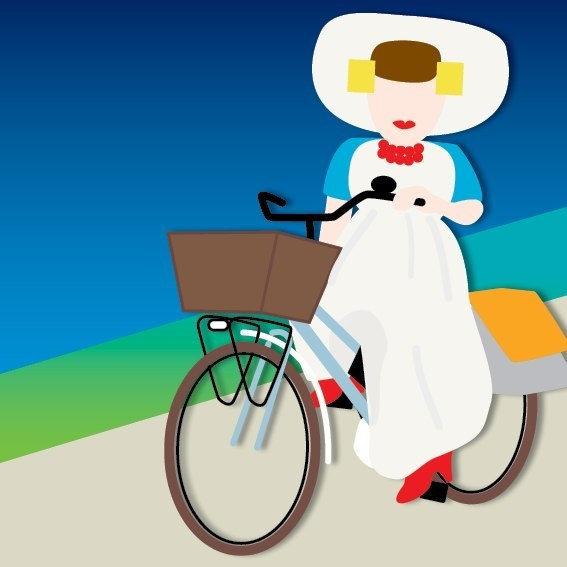 zeeuws meisje (NL) gaat er op de fiets even tussenuit