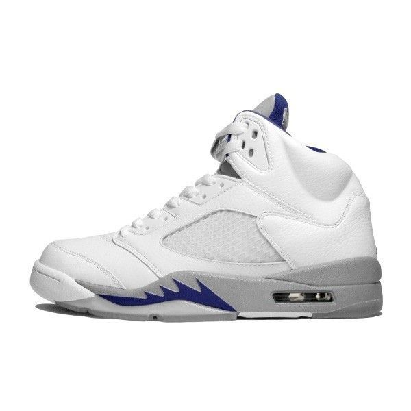 Air Jordan 5 Retro Stealth (white blue) ❤ liked on Polyvore featuring shoes, jordans and sneakers