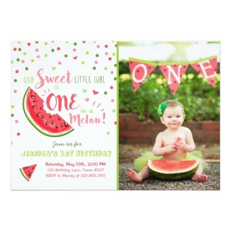 Watermelon Birthday Invitation Melon Summer Party - tap to personalize and get yours
