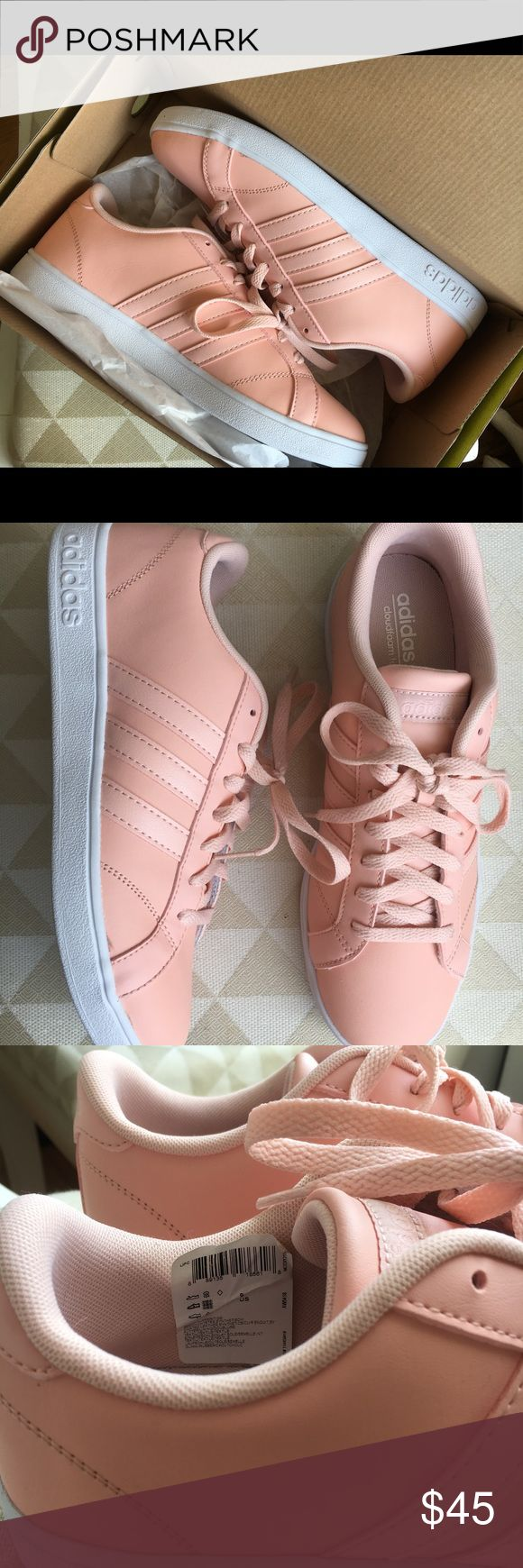 Adidas Neo Women's Baseline in Blush These blush/pink sneakers are SO cute. Bought in two sizes (I'm usually a 9 but adidas run big) and didn't return in time.  Leather upper w/signature 3 stripes  Padded tongue and collar  Cloud form comfort insole  Textured Rubber outsole adidas Shoes Sneakers