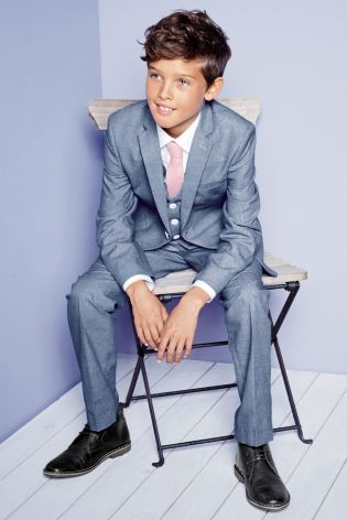 Blue Boys Suit and Waistcoat with White Shirt and Pink Tie from Next