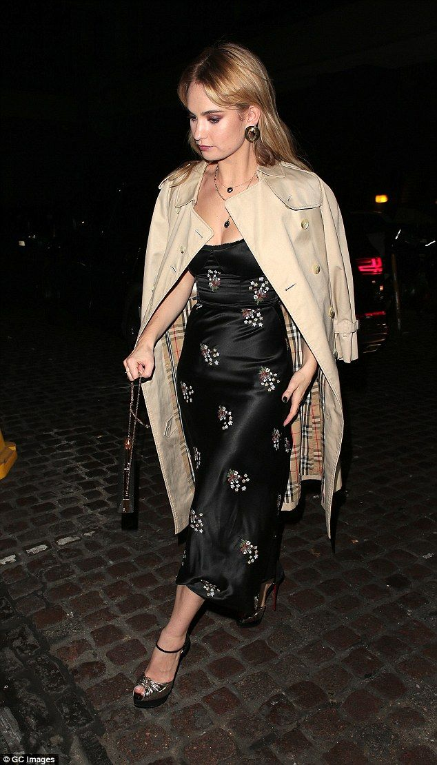 Lily James makes a quick change into for Vogue party | Daily Mail Online