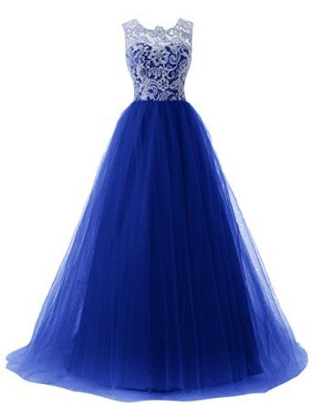 Dressystar Long Lace And Tulle Prom Evening Wedding Dress Buttons Back