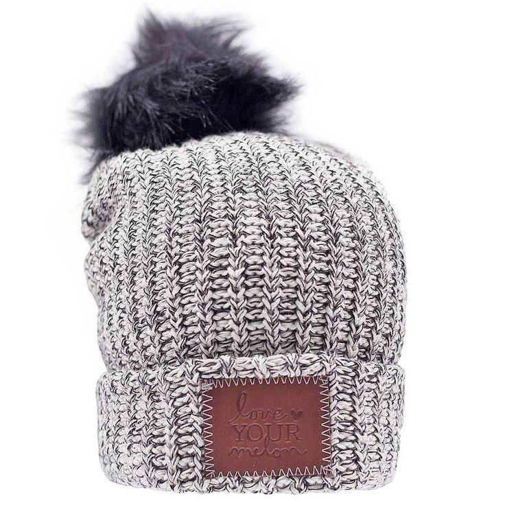Black Speckled Cuffed Pom Beanie (Black Pom) – Love Your Melon (donates to cancer research)