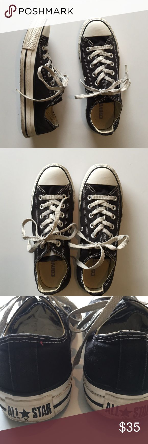 Low Top Black Converse Classic low top Converse Chuck Taylors. Goes with anything! Slightly worn, but in very good condition. Size men's 5.5, women's 7.5. 🚫 No trades 🚫 Converse Shoes Sneakers