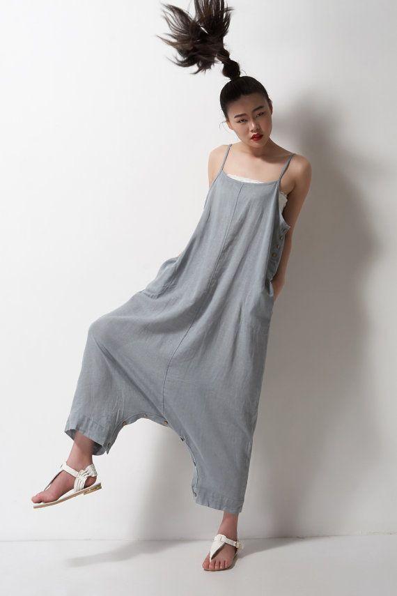 grey linen maxi dress pantsa pants a dress black grey por dongli
