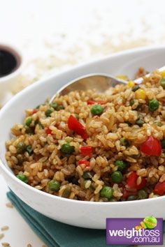 Fried Brown Rice. #HealthyRecipes #DietRecipes #WeightLoss #WeightlossRecipes weightloss.com.au