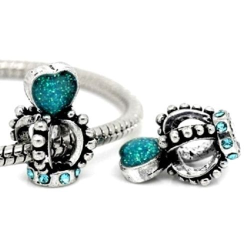 Silver Rhinestones Crown Heart Charm Beads European Bracelets Multi Colours | eBay