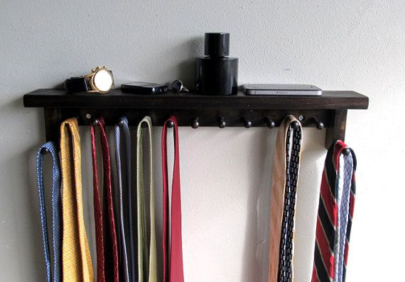 Tie rack Tie Bar Tie Holder  with shelf for Men - Large