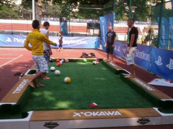 Snookball--A Game of Pool That You Play with Your Feet- This looks like so much fun and possibly all ages could play together.