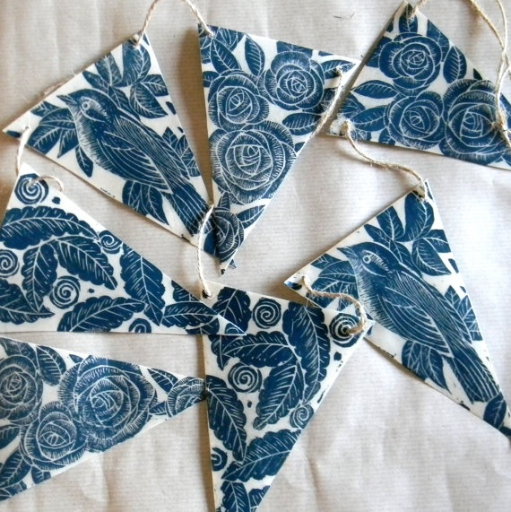 Hand Printed Lino Print and Wax Bunting