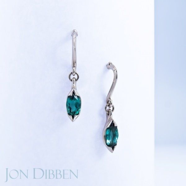 18ct Fairtrade gold with marquise cut, seagreen Tourmalines.  These drop earring are playful and catch the light beautifully. * * * #jondibbenjewellery #fairtrade #fairtradegold #beautiful #love #tourmaline #dropearrings