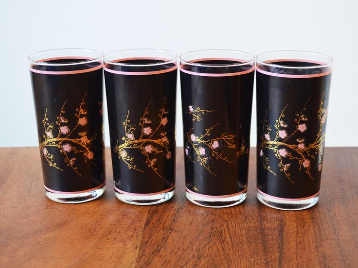Rare Vintage Cutler Barware 24k Gold And Black Cherry Blossoms Set Of 4  Highballs Circa 1970s Made In Canada, Mid Century Barware
