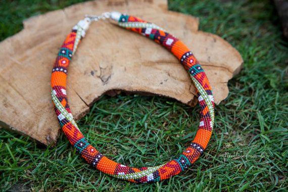 Осенняя игра  ожерелье из бисера бисерный жгут от NecklaceFromLviv