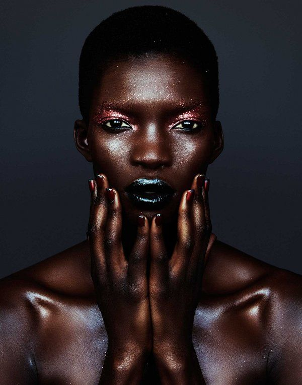 Achok Majak, Samantha Wolov, Velour magazine, Black Fashion Models, Beauty, make-up