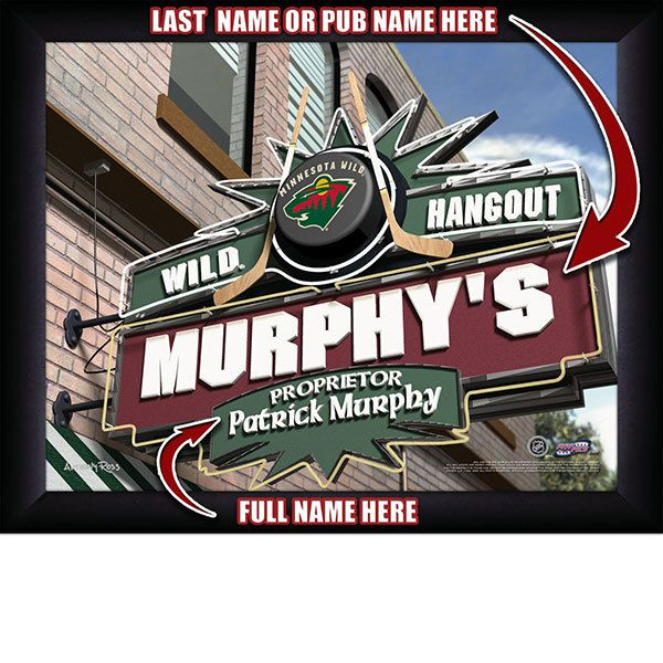 Minnesota Wild NHL Hockey - Personalized Minnesota Wild Pub Hangout Print / Picture. Now, with our Personalized NHL Sports Pub Hangout Print, your favorite fan can become the Proprietor of THEIR OWN Sports Bar! This exciting gift is perfect for any NHL hockey fan. Optional framing with mat is available. Perfect for gifts, rec room, man cave, bar, office, etc.  (http://www.oakhousesportsprints.com/minnesota-wild-pub-hangout-print/)