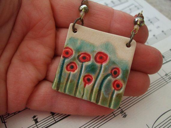 Poppy Field- Ceramic Necklace