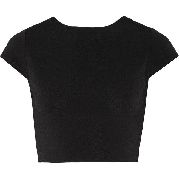 Alice + Olivia Monika cropped cutout stretch-jersey top found on Polyvore featuring tops, crop tops, black, crop top, black crop top, twist top, cap sleeve top and cutout tops