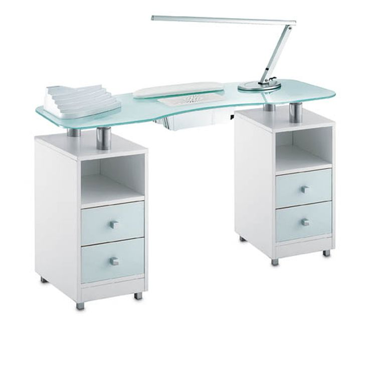 Manicure table with aspirator. tempered glass top. Beauty salon furniture. made in italy. nail dust sunction. beauty equipment. glass nail table.