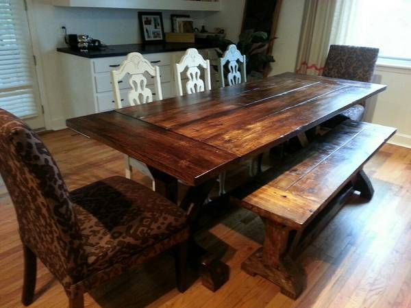Ft Farmhouse Table In Dark Walnut Special Walnut Mix Breadboard Tabletop X Trestle