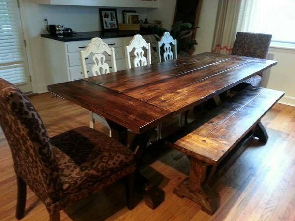 Ft Farmhouse Table In Dark Walnut Special Walnut Mix Breadboard Tabletop X Trestle