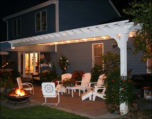 Patio and pergola idea for next to our garage