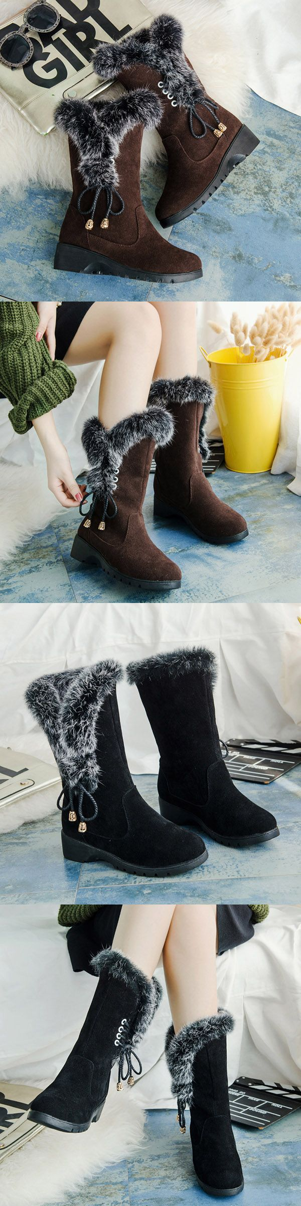 US$25.82  Mid Calf Fur Lining Lace Flat Boots