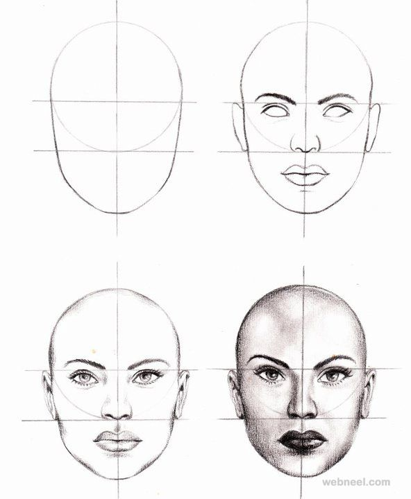 How to Draw a Face - 25 Step by Step Drawings and Video Tutorials. Read full article: http://webneel.com/how-draw-faces-drawings | Follow us www.pinterest.com/webneel