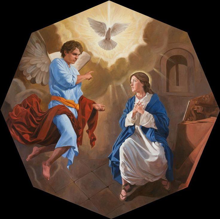 Annunciation / Anunciación // 2012 // Raúl Berzosa // Capilla de Nuestra Señora de Guadalupe en Fargo (Dakota del Norte, Estados Unidos) // North Dakota, USA // #HolySpirit #VirginMary #ArchangelGabriel