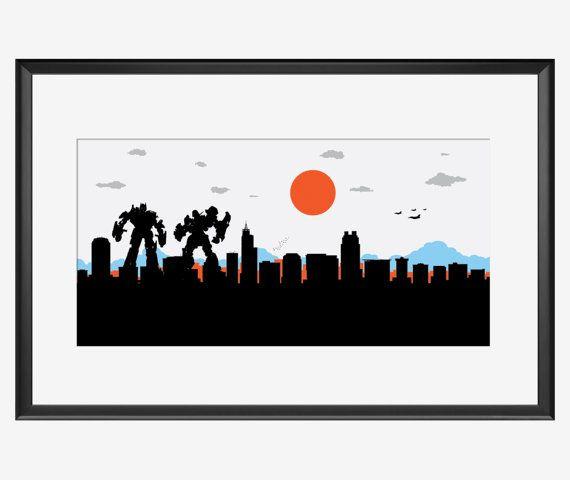Raleigh Skyline print Transformers inspired print Raleigh