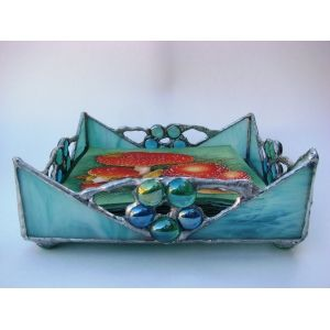 Turquoise Stained Glass Napkin Holder