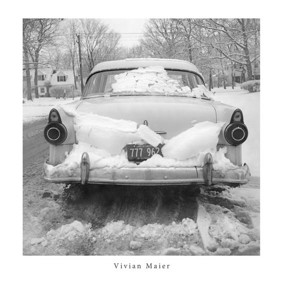 Vivian Maier Car Stuck in Snow 30x30cm Print
