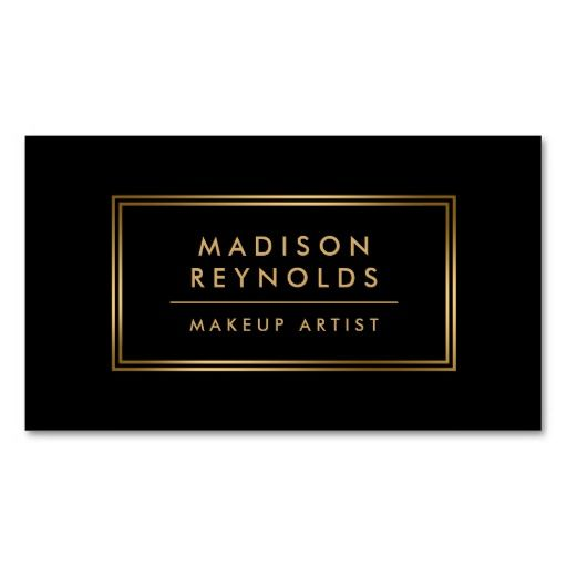 Modern Fashionable Black Gold Frame Makeup Artist Double-Sided Standard Business Cards (Pack Of 100)