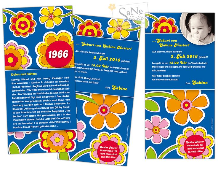 Einladungskarte zum Geburtstag für alle, die 1966 geboren sind, im Retro-Stil! Flower Power Party