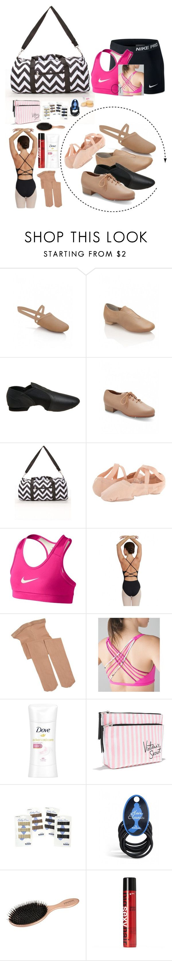 """""""What's In My Dance Bag?"""" by preppy-southern-girl88 ❤ liked on Polyvore featuring Capezio, Bloch, NIKE, lululemon, Dove, Victoria's Secret and Sexy Hair"""