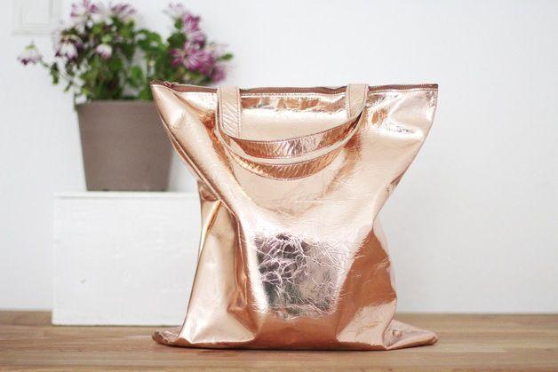 Lederbeutel in Kupfer / statement tote bag, hipster style, copper by ElektroPulli via DaWanda.com